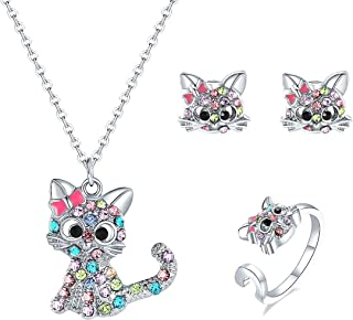 Bievochy Cat Necklace for Girls Women Kitty Cat Pendant Necklace Earrings Ring Jewelry Set