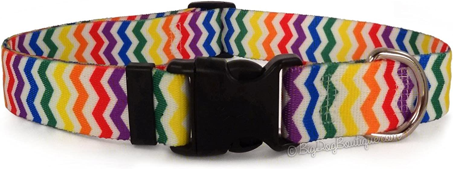Candy Stripe Chevron Adjustable Buckle Dog Collar  Small