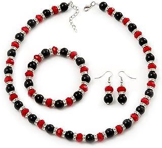 Klaritta S793 Parure collier boucles doreilles pendantes et bracelet Bleu roi Dor/é Strass