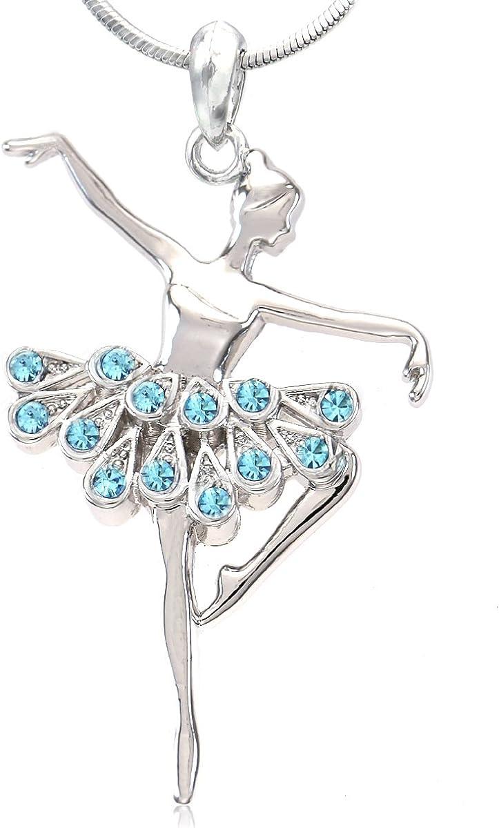 Pink Dancing Ballerina Dancer Ballet Dance Pendant Necklace Charm Jewelry