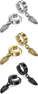 3-6 Pairs Stainless Steel Piercing Hoop Huggie Feather,Cross Dangle Earring for Mens Womens Teens,Hypoallergenic