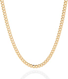 QUADRI Cuban Link Chain Gold Plated Over 925 Sterling Silver Italian 5mm Diamond-Cut Necklace for Women Men -16-30 Inch - Premium Quality Made in Italy - Gift Box Included