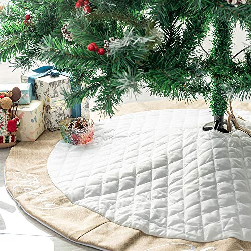 Deggodech 48inch Quilted Christmas Tree Skirt White with Jute Border Large Luxury Thick Xmas Tree Skirt Mat for Merry Christmas New Year Holiday Party Decoration (White, 122cm/48inch)