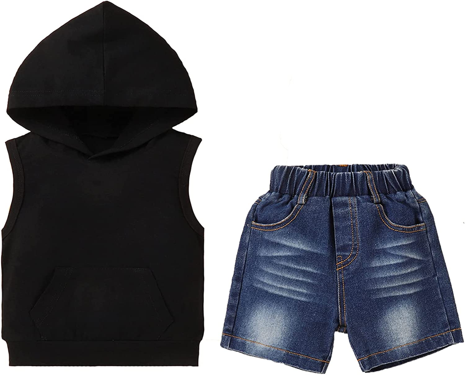 Baby Boy Clothes Summer Black Hooded Vest + Baby Boy Jeans Shorts Set 2 Years