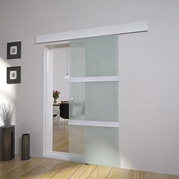 Puerta corrediza de cristal 2050 x 750 mm Cristal – Herraje para de calidad de aluminio y acero inoxidable: Amazon ...