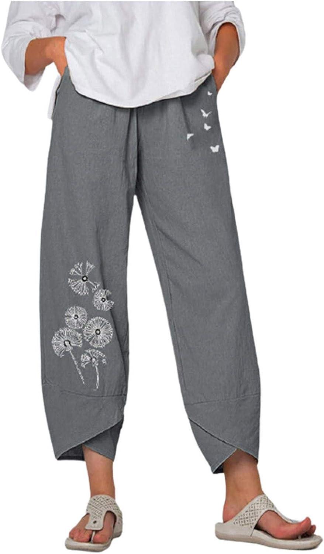 Summer Pants for Women Casual Cotton Linen Wide Leg Pants Drawstring Elastic Waist Capris Crop Pants