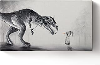 Hand Painted Lovely Baby Boy Touching Trex Dinosaur in The Forest Oil Painting on Canvas Wall Art Home Decor 8x16inch
