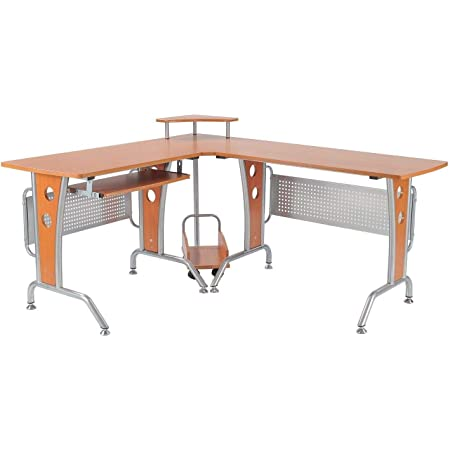 HOMCOM L-Shaped Corner Computer Office Desk Workstation with Elevated Shelf, Rolling Keyboard Tray, & Convenient CPU Stand, Wood Color