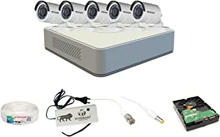 Hikvision 2MP 8 Ch HD DVR & 2MP 5 Bullet Camera HD Combo kit, Include All Require Accessories for 5 Camera Installation