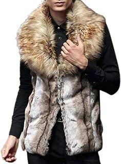Targogo Gilet di Pelliccia Finta Uomo Uomo Uomo Faux Fur Abbigliamento Vest Vintage Jacket Cappotto Invernale Senza Manich...