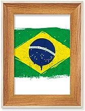 Pintado à mão Bandeira do Brasil Mesa de madeira Moldura de foto para exibição de imagem de arte em vários conjuntos
