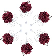 Buery 6 Pieces/lot Wedding Boutonniere Handmade Rose Boutonniere Corsage with Pin, Lapel Pin Rose Wedding Boutonniere for Wedding Prom Party Decor (Rhinestone red)
