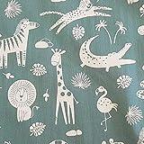 Stoff Meterware Baumwolle grün weiß Giraffe Nilpferd