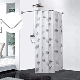 L-Shaped Shower Curtain Rod, Extendable Bath Curtain Rail Bar Pole, Curved Tension Rod For Shower Curtain No Drilling, Sta...