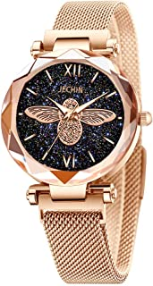 Quartz Women's Bracelet Magnetic Wrist Watch Black Dial Starry Sky Magnetic Mesh Strap Bee Watch
