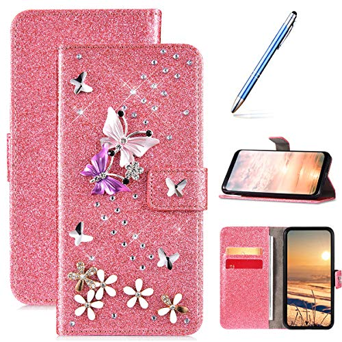 Coque Samsung Galaxy J3 2017 Pochette Portefeuille en Cuir PU Etui à Rabat,Bling Glitter de Luxe Diamant Coque,Folio Flip Case Cover Fentes de Carte Wallet Housse pour Samsung Galaxy J3 2017,Rose