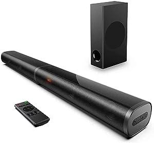 190W TV Sound Bar, 2.1 CH Soundbar with Subwoofer, Deep Bass Adjustable, 6 EQ Modes, 125dB, HD & 4K TV, Optical/AUX/Bluetooth 5.0/ HDMI(ARC) Soundbars for TV