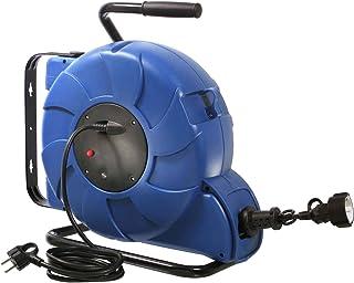 as – Schwabe Automatischer Kabelaufroller – 20 m Kupplungsleitung & 2 m Steckerzuleitung – Aufroller mit Federzug-Automatik, Schutzkontaktstecker & Schutzkontaktkupplung – IP44 – Blau I 12633