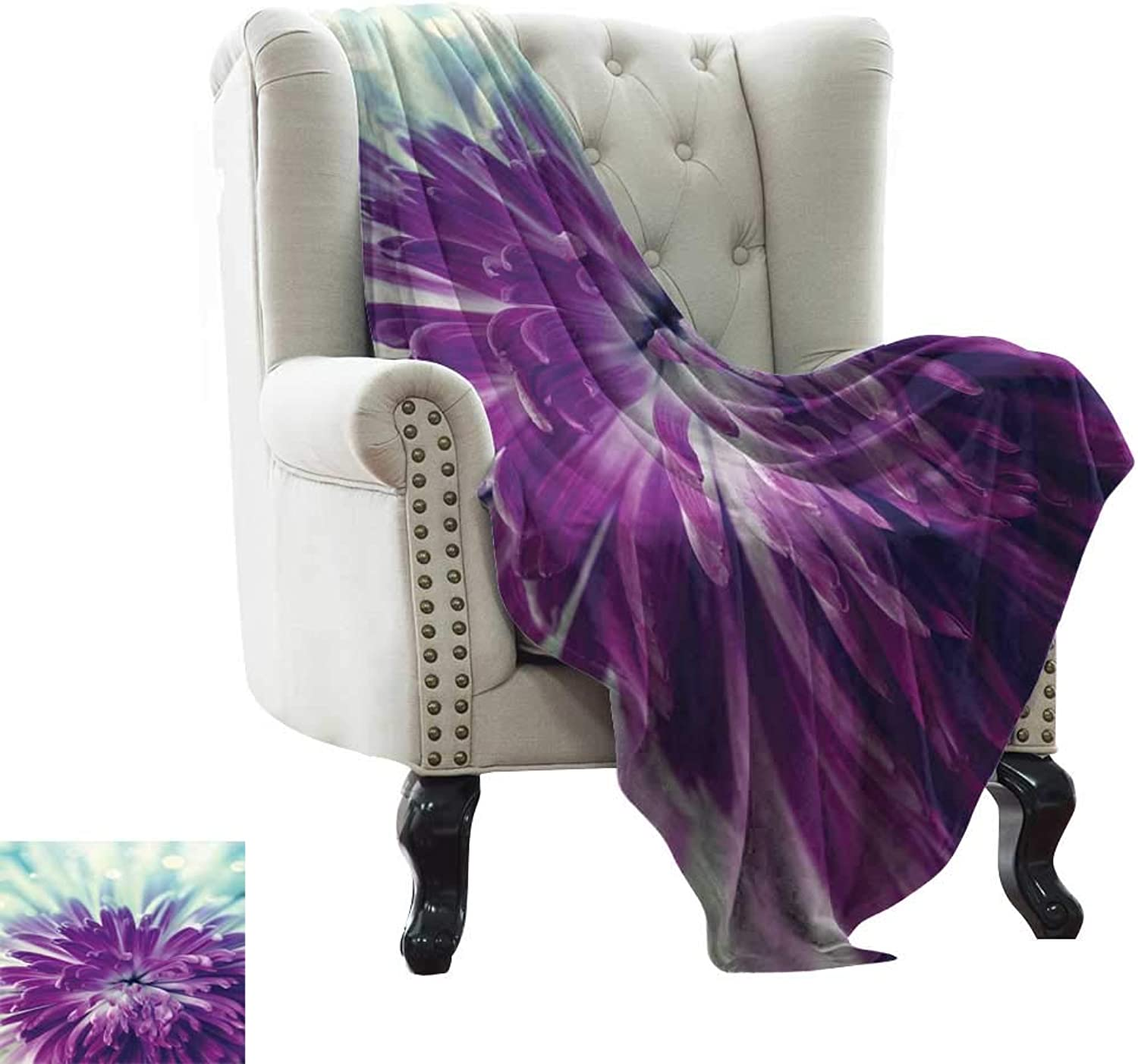 BelleAckerman Weighted Blanket for Kids Dahlia,Radiant purple colord Blooming Dahlia Close-Up with Petals in Pale Sunshine,Purple Mint Green All Season Light Weight Living Room Bedroom 50 x60