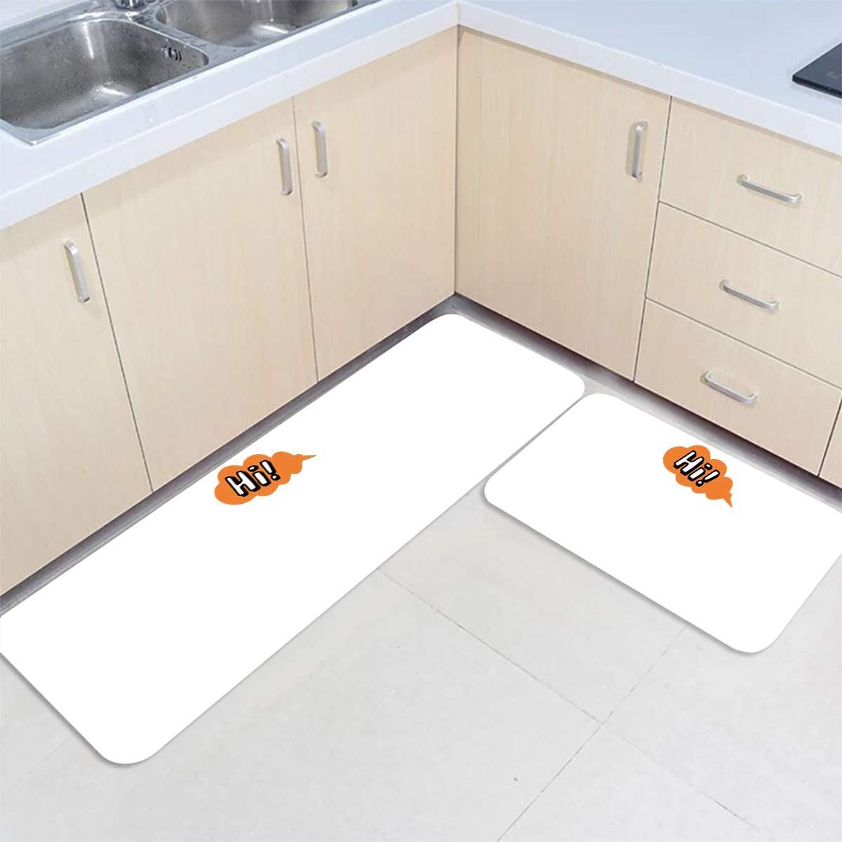 DoremiHome HI 2 Piece Set Kitchen Mats Rugs Gifts Skid and Non Washabl New arrival