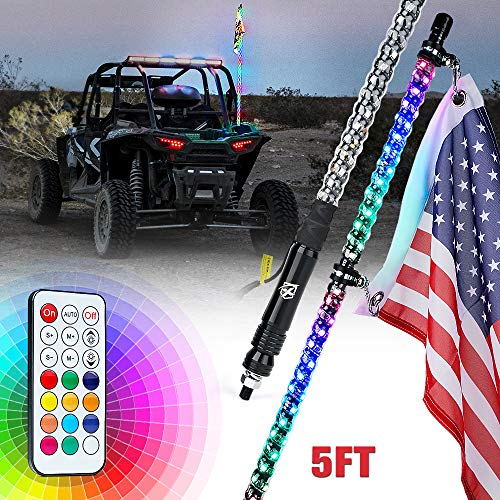 Xprite 5FT Spiral LED Whip Lights Flag Pole with Remote Control for UTV ATV Truck Polaris RZR XP 1000 Can am Maverick X3 Side by Side Quad Dune Buggy