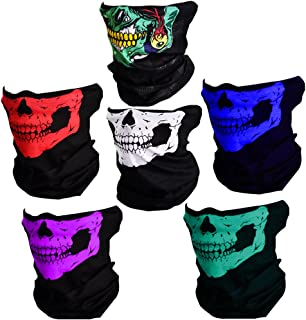 CIKIShield Couples Seamless Skull Face Tube Mask Black (6pcs-Color Set-A)