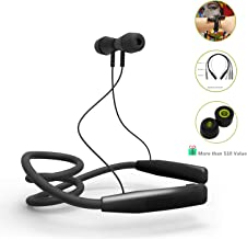 Wireless Bluetooth Headphones - LAINNO Sports Neckband Earbuds Headset, 360 Degree Adjustable Memory Neckband Slim Design for All Neck Size, Microphone, Bonus Memory Foam Earbuds, 2019 Version