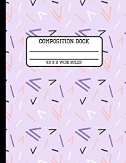 Composition Book Wide Ruled: Trendy 80s Geometric Back to School Writing Notebook for Students and Teachers in 8.5 x 11 Inches