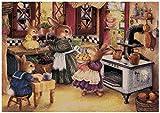Sweet Home Peter Rabbit - Kit de punto de cruz para cocina, 14 ct, 300 x 211 puntos, 64 x 49 cm, hilo de algodón egipcio, grande