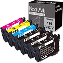 NoahArk 6 Pack T126 Remanufacture Ink Cartridge Replacement for Epson 126 T126 for Workforce 435 520 545 635 645 845 WF-3520 WF-3530 WF-3540 WF-7010 WF-7510 WF-7520 (3 Black 1 Cyan 1 Magenta 1 Yellow)