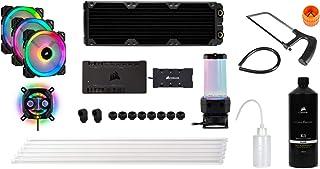 Corsair Hydro X Series iCUE XH300i RGB Kit de Refrigeración Personalizada, XC7 RGB 115X/AM4, XD5 Pack de Bomba/Depósito, 3 x LL 120 RGB Ventilado, Negro