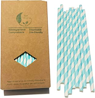 Light Baby Blue Striped Drinking Straws Paper 100pcs Blue and White Stripes