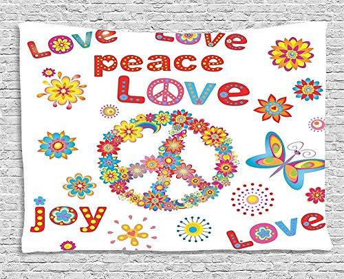 QIAO Decoraciones Colecci¨n Flower Power Sunlights Sunny Love Peace Joy Floral Buttery Spring Festival Wreath Design Dormitorio Sala de Estar Dormitorio Tapiz Tapiz Inch