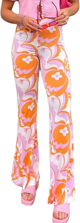 Women's Y2K Fashion Straight Leg Trousers High Waist Vintage Print Casual Flares Stretch Long Pants Streetwear