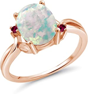 Gem Stone King 1.73 Ct Oval Cabochon White Simulated Opal Red Created Ruby 18K Rose Gold Plated Silver Ring
