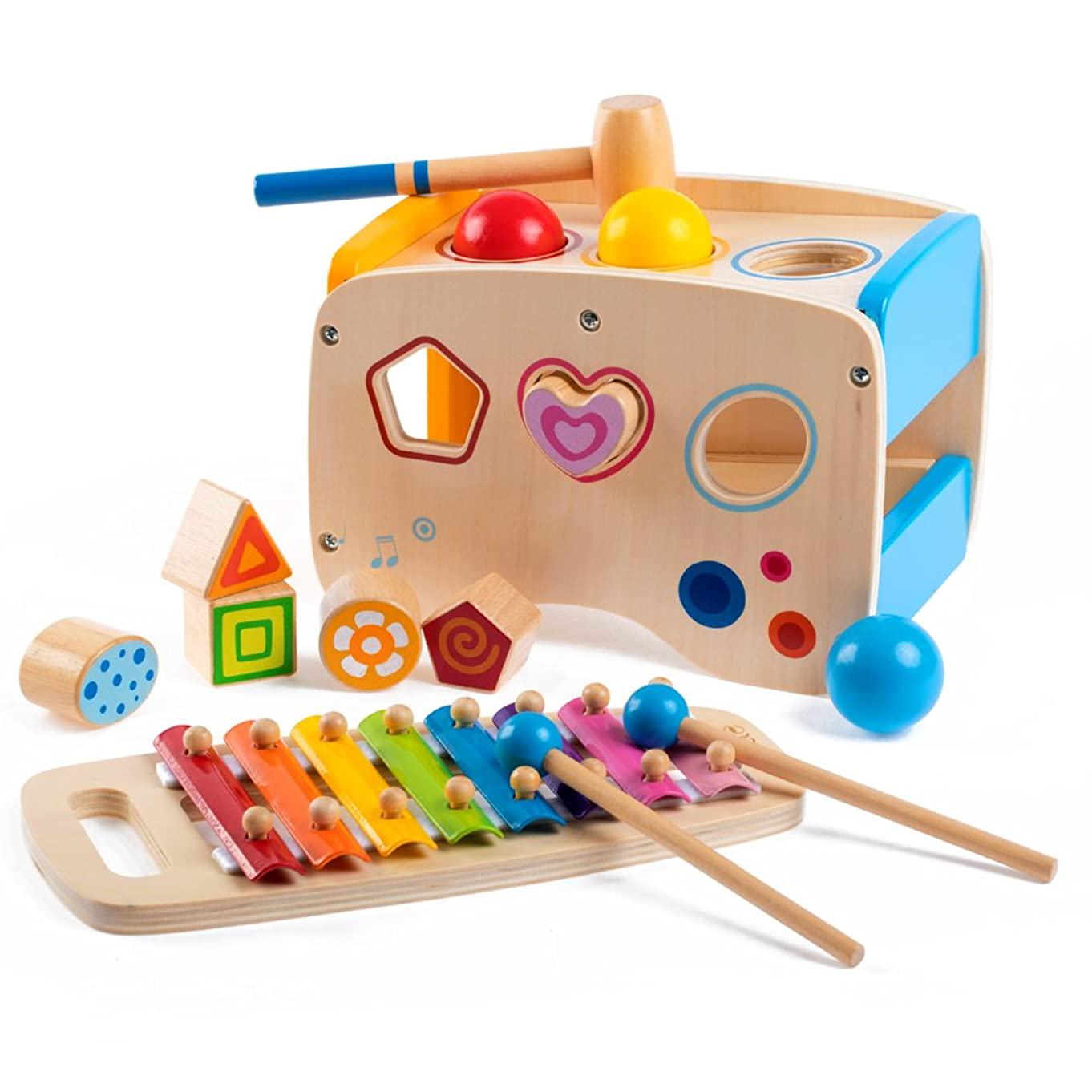 rolimate Wooden Learning Hammering & Pounding Toys + 8 Notes Xylophone + Shape Color Recognition, Best Birthday Gift Toy for Age 1 2 3 Years Old and Up Kid Children Baby Toddler Boy Girl