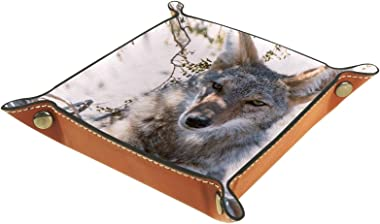 Leather valet Tray Multi-Purpose storage box Tray Organizer Used for storage of small accessories,fox under the tree