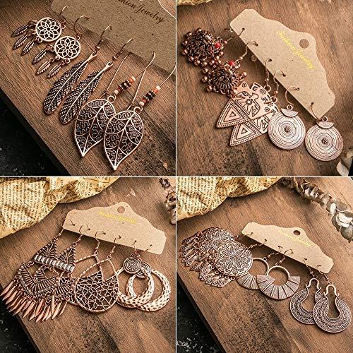 Xpwoz Metal de la Borla de los Pendientes de Las Mujeres de la Franja de Oro Rosa étnica Fija la joyería de la Vendimia Pendientes círculo de Hojas Mariposa geométrica 3 Pares