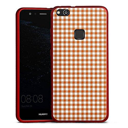 Huawei P10 lite Silikon Hülle Rot Case Schutzhülle Karo Picknick Decke