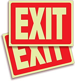 Exit Photoluminescent Signs Stickers – 2 Pack 10x7 Inch – Premium Self-Adhesive Glow in The Dark Vinyl, Laminated for Ultimate UV, Weather, Scratch, Water and Fade Resistance, Indoor & Outdoor