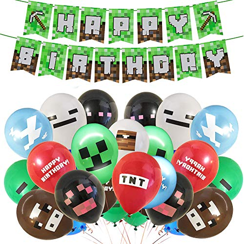 Gaming Theme Partyzubehör - Einschließlich Happy Birthday Banner, 24PCS Video Game Party Luftballons, 12-Zoll-Gaming-Geburtstagsballons für Miner Gamer Party Favors