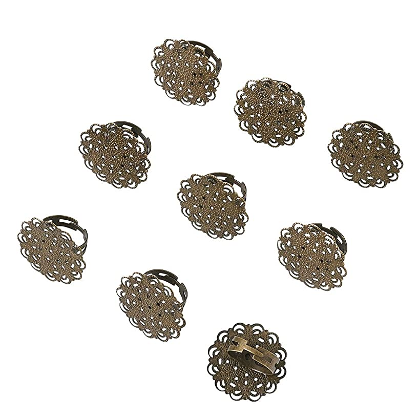 Beadthoven 10-Piece Filigree Flower Pad Ring Bases Adjustable Brass Filigree Ring Setting Components Nickel Free Antique Bronze Tray: 30mm