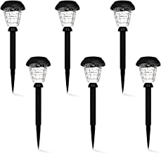 ASAWASA Outdoor Solar Lights Pathway,6 Pack Garden Path Waterproof Auto On/Off Bright White Wireless Sun Powered Landscape Lighting for Yard Patio Walkway Park Ground Light 4.3x4.3x15.4(Pattern A)