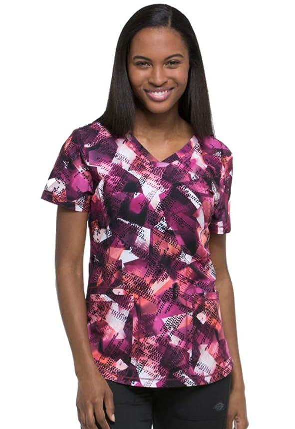 Dickies Fashion Prints by Women's V-Neck Going Digital Print Scrub Top