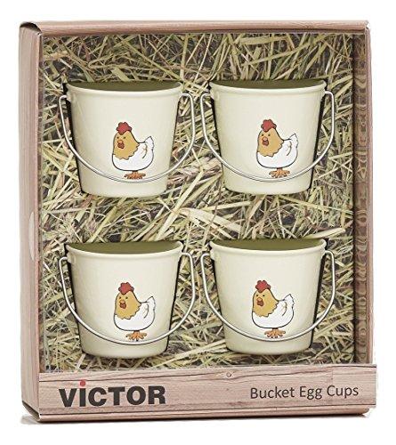 VICTOR Huhn Eierbecher Eimer, Champagner, Set von 4