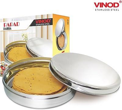 Vinod Stainless Steel Papad Dabba 14 Inch, Smoky Grey, Standard