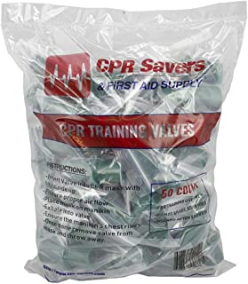 CPR Savers and First Aid Supply One-Way Disposable Training Valves for Micromask CPR Training (50)