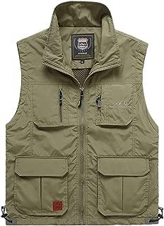 XXT Pocket Vest Nylon Men's Summer Thin Section Sports and Leisure Multi-Pocket Vest Practicality (Color : Khaki, Size : XL)