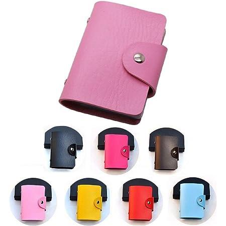 REALMAX Card Holder 24 Slots Black Mens Luxury Soft PU Leather Credit Debit Visiting Wallet Case Purse Pocket Business ID (Pink)