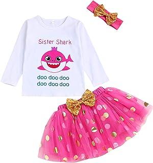 Toddler Baby Kid Girls Sister Shark Outfits Long Sleeve T-Shirt Top+Tutu Skirt with Headband Clothing Set